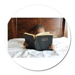 Boy With The Bible Round Car Magnet