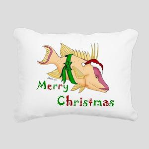Holiday Hogfish Rectangular Canvas Pillow