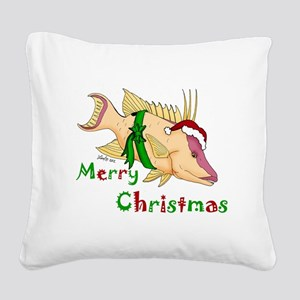 Holiday Hogfish Square Canvas Pillow