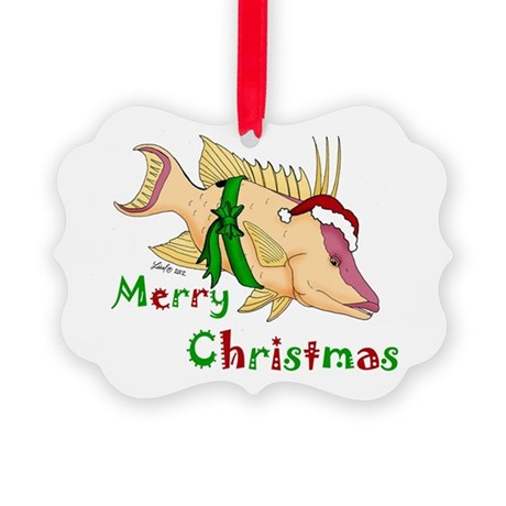Holiday Hogfish Picture Ornament
