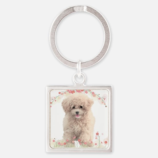 flowers.png Square Keychain