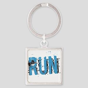 Grunge RUN Square Keychain