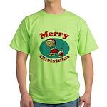 Merry Christmas Pup Green T-Shirt