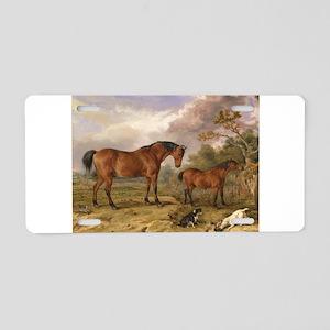 Vintage Painting of Horses on the Farm Aluminum Li