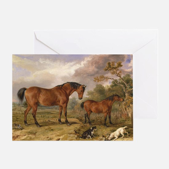 Vintage Painting of Horses on the Farm Greeting Ca