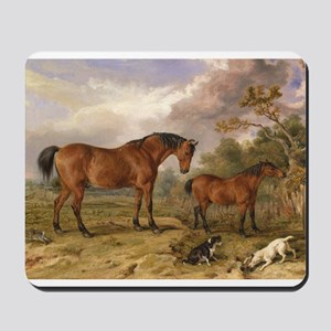 Vintage Painting of Horses on the Farm Mousepad
