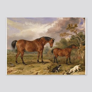 Vintage Painting of Horses on the Farm 5'x7'Area R