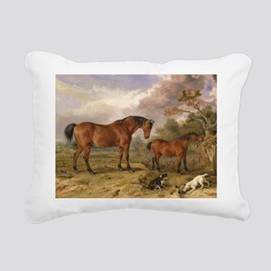 Vintage Painting of Horses on the Farm Rectangular