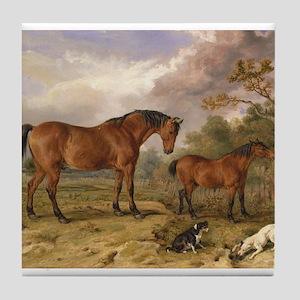 Vintage Painting of Horses on the Farm Tile Coaste