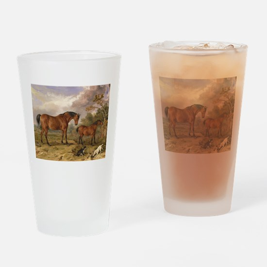 Vintage Painting of Horses on the Farm Drinking Gl