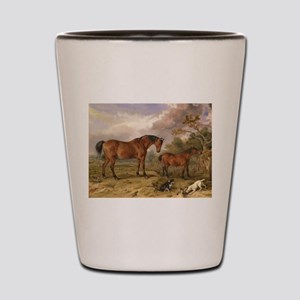Vintage Painting of Horses on the Farm Shot Glass