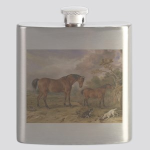 Vintage Painting of Horses on the Farm Flask