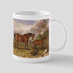 Vintage Painting of Horses on the Farm Mug