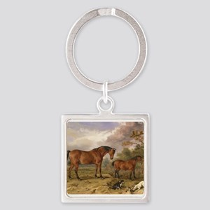 Vintage Painting of Horses on the Farm Square Keyc