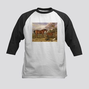 Vintage Painting of Horses on the Farm Kids Baseba