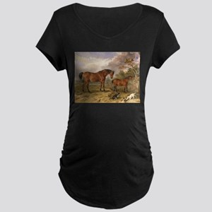 Vintage Painting of Horses on the Farm Maternity D