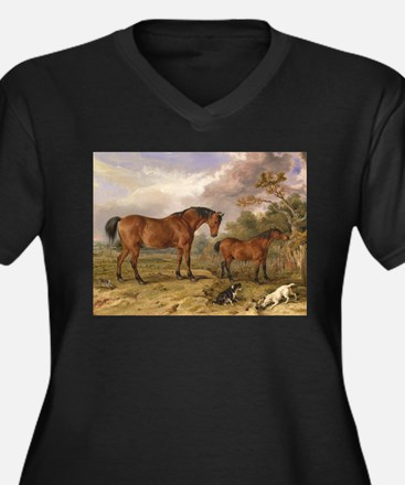 Vintage Painting of Horses on the Farm Women's Plu