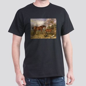 Vintage Painting of Horses on the Farm Dark T-Shir