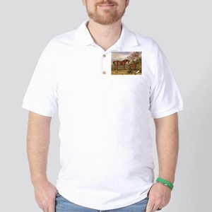 Vintage Painting of Horses on the Farm Golf Shirt