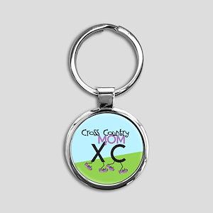 Cross Country Mom Round Keychain