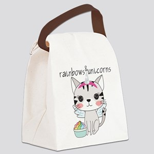 Kitten Cat Rainbows and Unicorns Canvas Lunch Bag