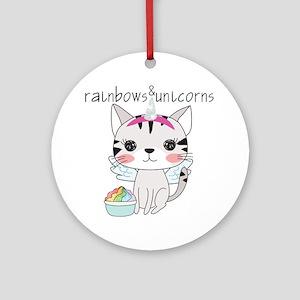 Kitten Cat Rainbows and Unicorns Round Ornament