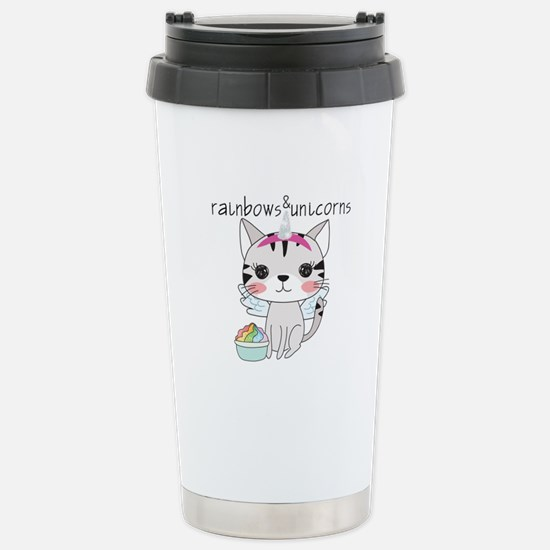 Kitten Cat Rainbo Travel Mug