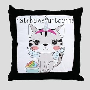 Kitten Cat Rainbows and Unicorns Throw Pillow