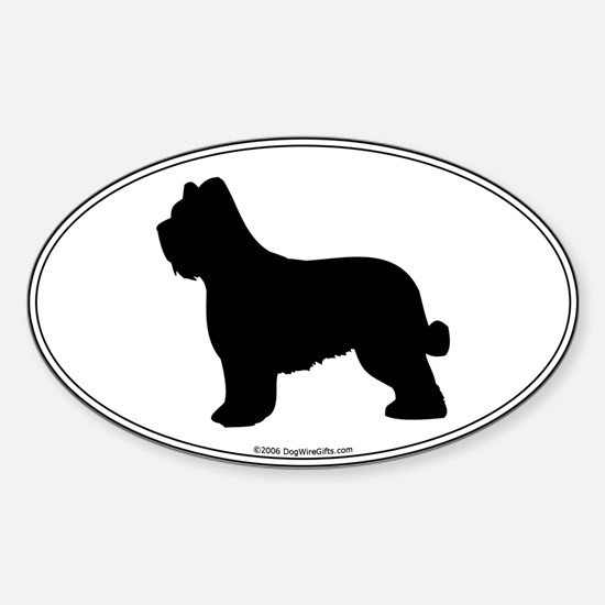 Briard Silhouette Oval Decal