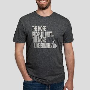 THE MORE I LIKE BUNNIES 1 C Mens Tri-blend T-Shirt