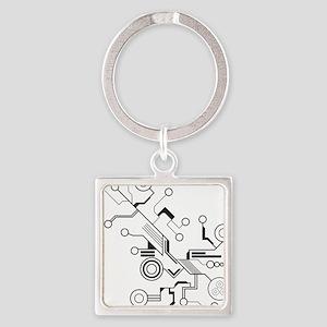 Circuit Square Keychain