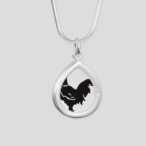 Big Black Chicken Silver Teardrop Necklace