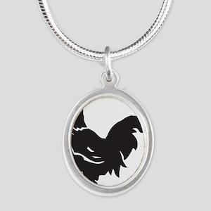 Big Black Chicken Silver Oval Necklace