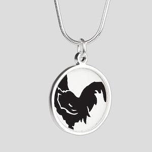 Big Black Chicken Silver Round Necklace