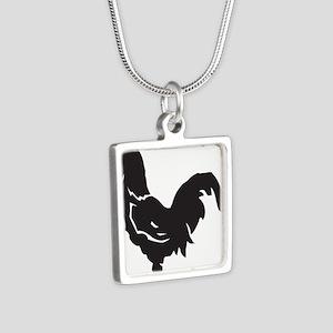 Big Black Chicken Silver Square Necklace