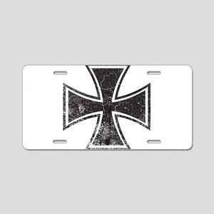Biker Cross - Distressed Aluminum License Plate