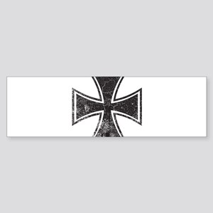 Biker Cross - Distressed Sticker (Bumper)