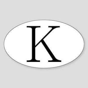 Greek Character Kappa Oval Sticker