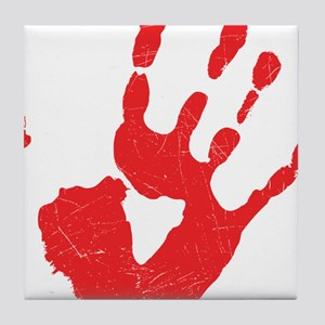 Bloody Hand Print Tile Coaster