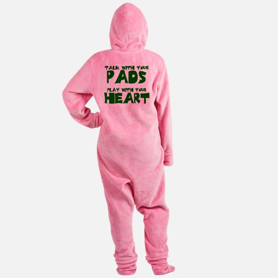 TALK W PADS_GREEN.png Footed Pajamas