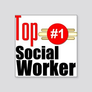 """Top Social Worker Square Sticker 3"""" x 3"""""""