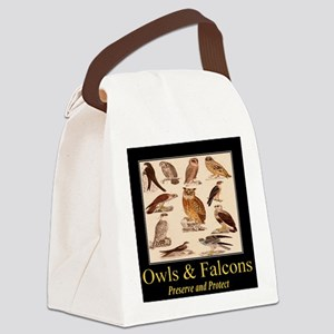 Owls Falcons Canvas Lunch Bag