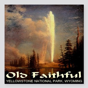 "old_faithful1024x1024 Square Car Magnet 3"" x 3"