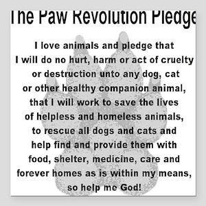 "The Paw Revolution Pledge Square Car Magnet 3"" x 3"