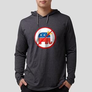 No Trump, Republican elephant Mens Hooded Shirt
