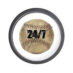 24/7 Baseball Wall Clock