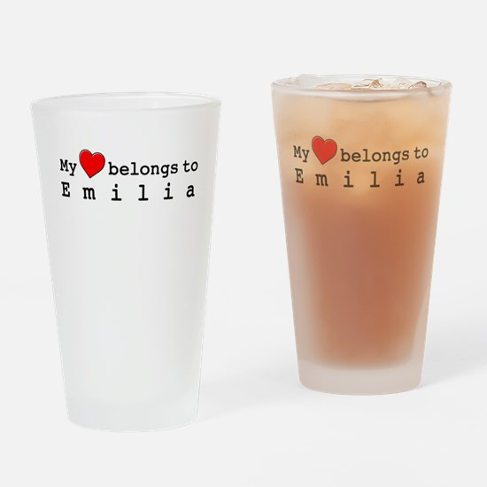 My Heart Belongs To Emilia Drinking Glass