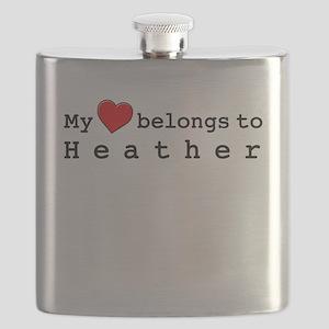 My Heart Belongs To Heather Flask