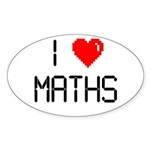 I love maths Sticker (Oval 10 pk)