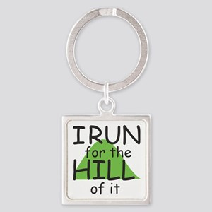 Funny Hill Running Square Keychain